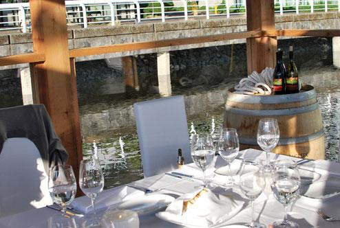 Table setting on the Floating Dining Room in Vancouver