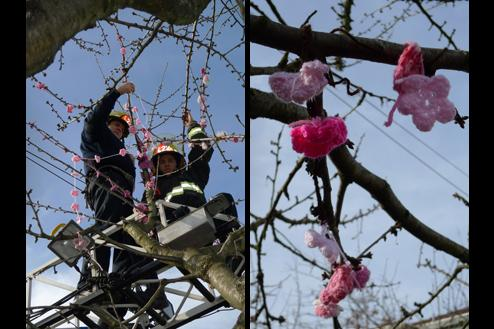Firefighters hang garlands above while the knitters attach blossoms below.
