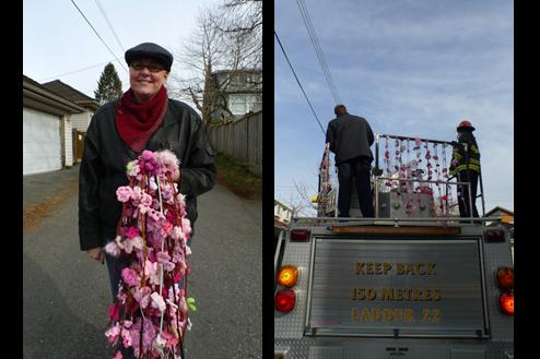 Moore delivers blossom garlands to the firefighters. Every blossom on every garland is one of a kind.