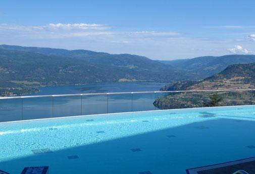 Infinity pool and spectacular lake views at Sparkling Hill Resort in Vernon