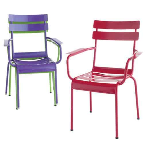 Bold bursts of berry, purple and green make Pier 1's stackable seating a vibrant choice for bedecking your backyard