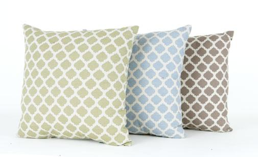 Channel the seashore with these patterned outdoor pillows in muted hues of sand, sea and fern by PC Home