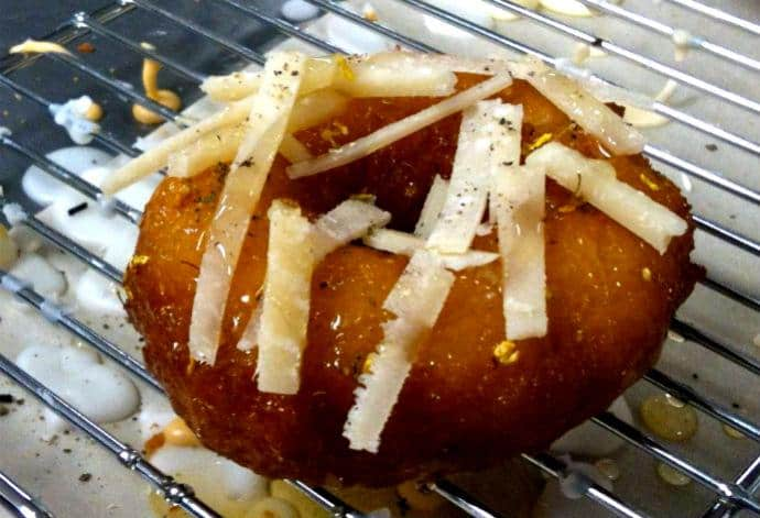 Cartems' bee sting doughnut with cassia honey and parmesan