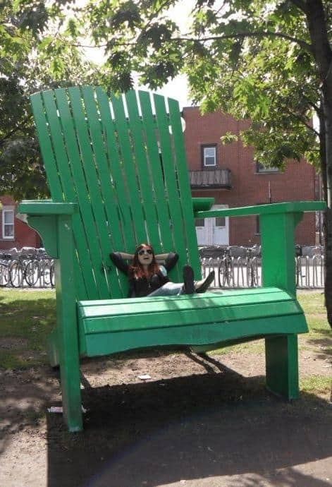 Relaxing on the  Big Green Chair  by Mont-Royal station & Montreal Weekend Getaway Guide: Experience Two Days of French ...