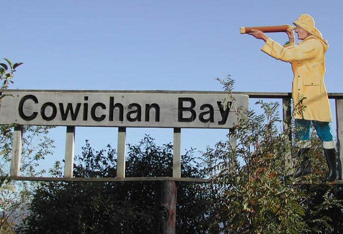 Cowichan Bay sign at Hecate Park