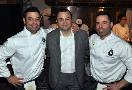 The Parlour owners Sean Holland, Paul Rivas and Chris Holland celebrate the launch of their new restaurant