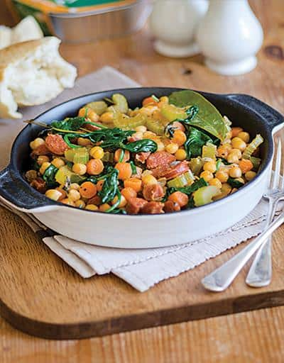 Broccolini, Chickpeas and Italian Turkey Sausage Stir-fry