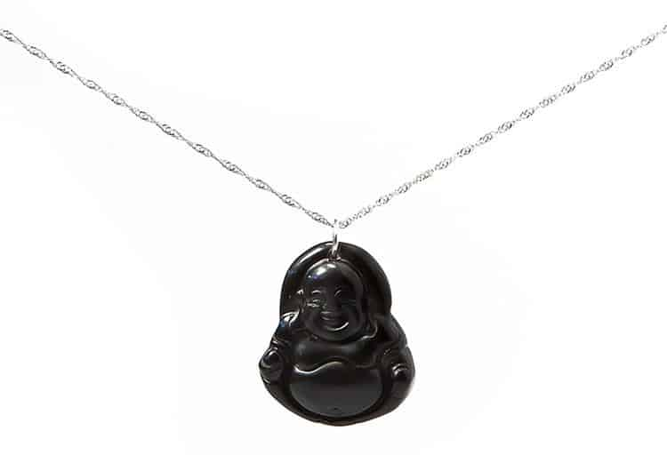 "Black Jade ""Happy Buddha"" Necklace, $39.99"