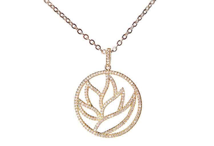 Crystal and Gold Lotus Necklace $30