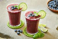 Blueberry Margaritas with Cucumber and Basil
