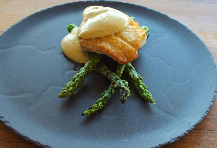 Slow Cooked Halibut, Brown Butter Hollandaise, Grilled Asparagus by Trevor Bird, Fable Kitchen
