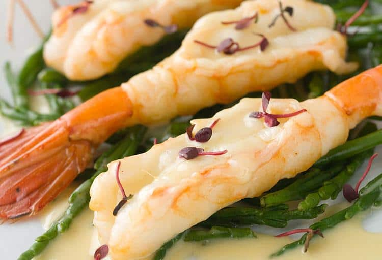 Spot Prawns with Samphire and Miso-Yuzu Sauce by Frank Pabst, Executive Chef, Blue Water Cafe