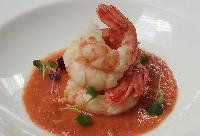 Olive Oil Poached Spot Prawns with Gazpacho by Executive Chef Wayne Sych, Joe Fortes