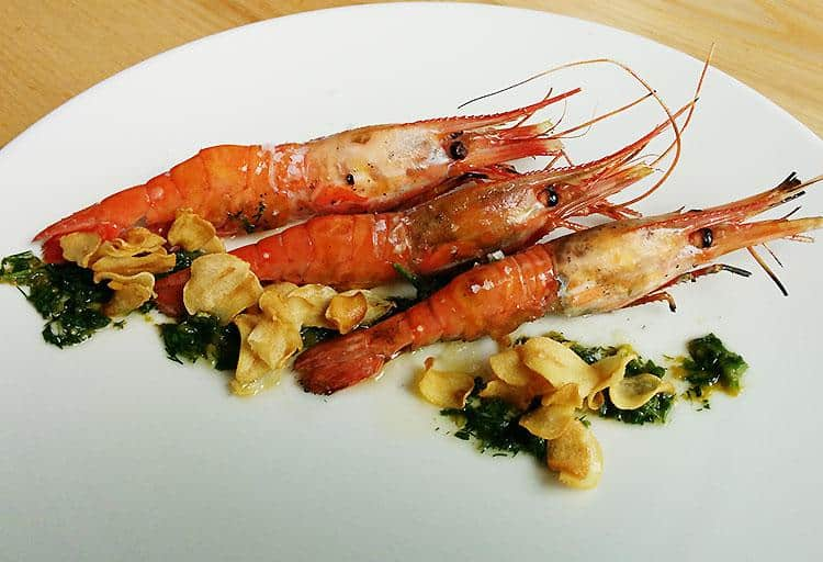 Grilled Spot Prawns with Crispy Garlic and Yuzu Kosho Perisillade by Executive Chef Shin Suzuki, Pidgin Restaurant