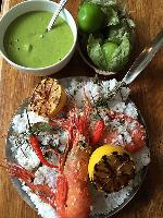 Salt Baked Spot Prawns with Charred Tomatillos Sauce by Chef Tret Jordan, Homer St. Cafe and Bar
