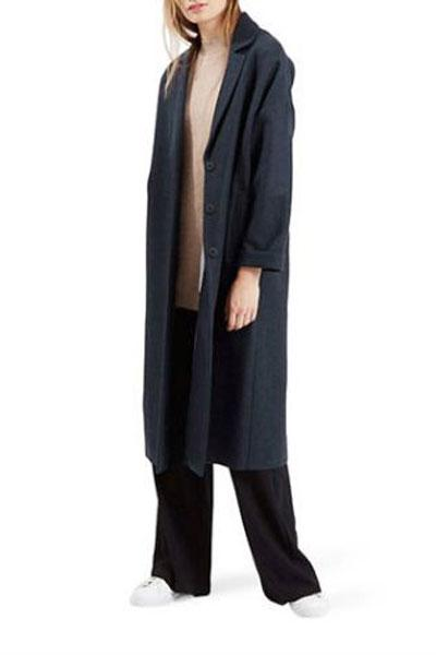 Topshop, Longline Wool-Blend Denim Duster Coat, $170