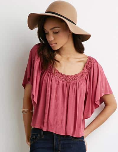 Forever 21 Crocheted Off-the-shoulder Gauze Top, $18.90