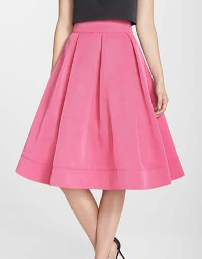 Eliza J Pleated Faille Midi Skirt, $204
