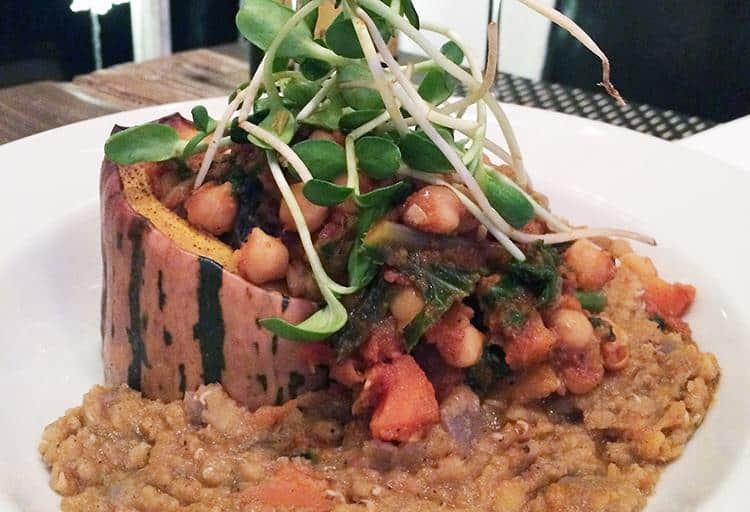Cumin-scented Chickpea Tomato and Vegetable Ragout with a Spiced Split Red Lentil Ragout by Chef Adrian Beatty, Seasonal 56 Restaurant