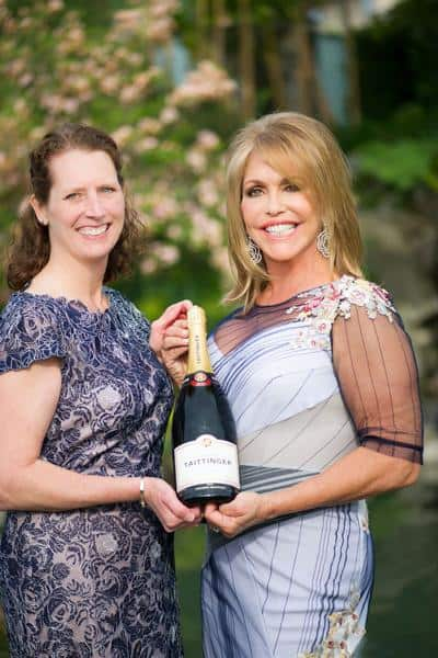Colleen Wilkinson, Pacific Wine & Spirits, sponsor of Champagne Taittinger with gala host Jacqui Cohen