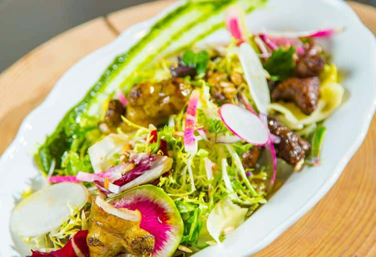 Chicories Salad with Roasted Sunchokes and Cider-mustard Vinaigrette by Chef Sarah Stewart, Juniper