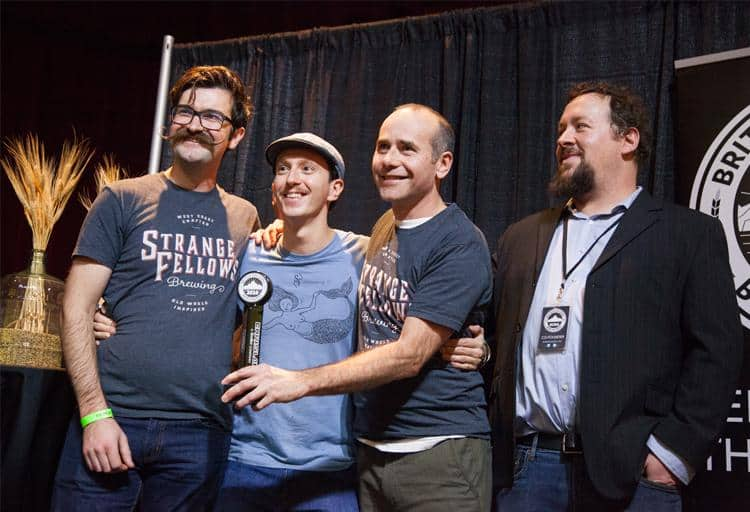 The team from Strange Fellows Brewing won first for Jongleur Wit, first for Raynard and third for Little Red One