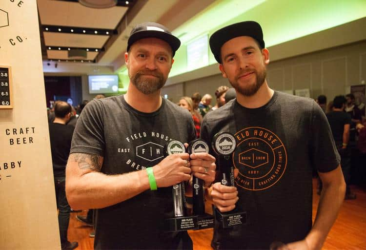 Josh Vanderheide and Parker Reid of Field House Brewing won Rookie Of The Year, third for their Sour Wheat Gose, and third for their Dutch Pale Ale