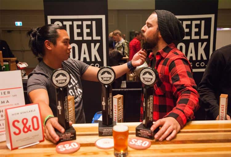 Brian Chow and Andres Markwart of Steel & Oak Brewing who won first for Dark Lager, first for Roggen Weizen and 3rd for Weizenbock
