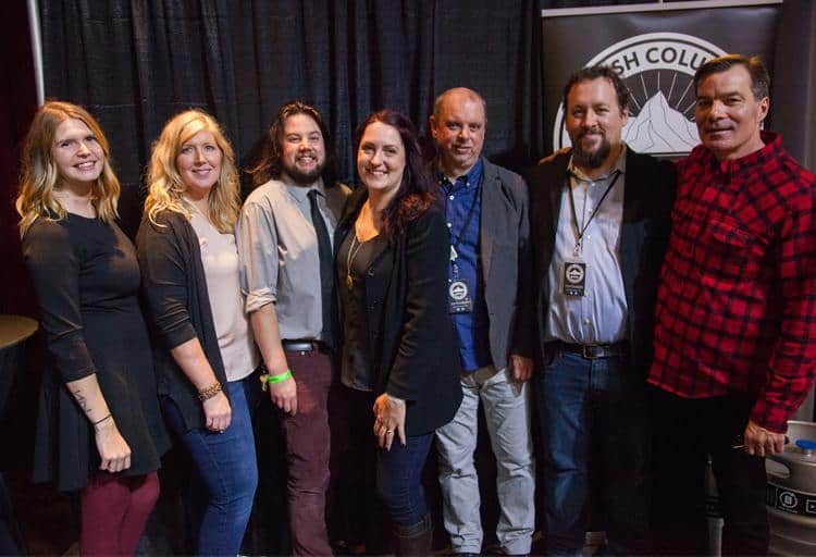 The BC Beer Awards Committee (from left to right): Sam Ingham, Monica Frost, Matt Anderson, Amanda Barry-Butchart, Gerry Erith, Chester Carey and host for the night Stephen Quinn