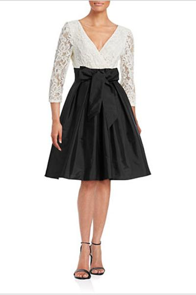 Adrianna Papell Surplice Lace Combo Flare Dress, $160