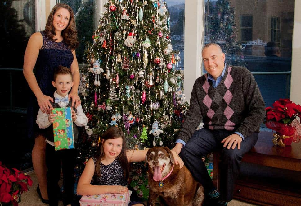 Steve Darling, wife Jen, children Hunter Linden and Hayley—and Lucy the family dog—pose alongside the family Christmas tree. Click through for more photos...