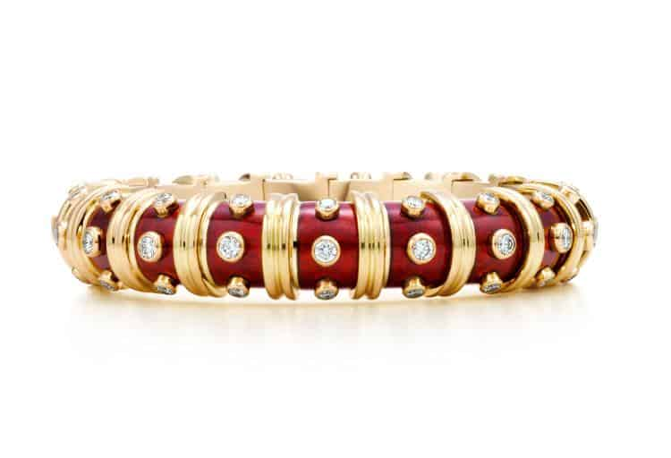Tiffany & Co. Schlumberger® narrow bracelet in gold with enamel and diamonds, $74,500