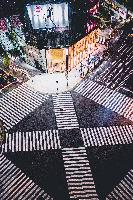 japan crosswalk empty city urban lights