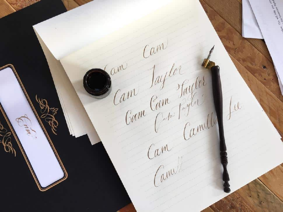 Cam Lee bride-to-be calligraphy