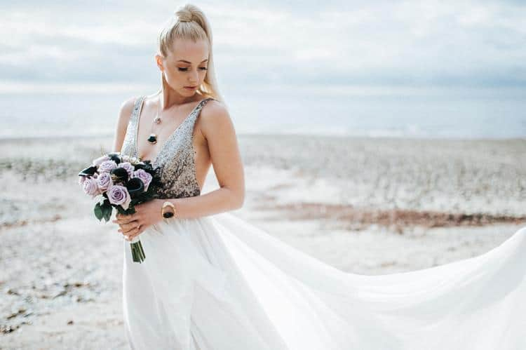 Truvelle silver and white gown