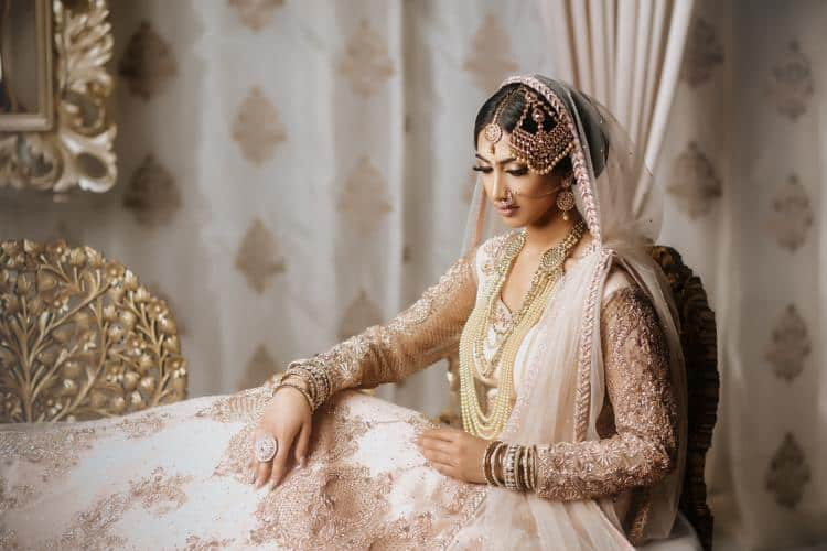 Shades Of Gold Indian Bridal Gowns Real Weddings - White Indian Wedding Dress