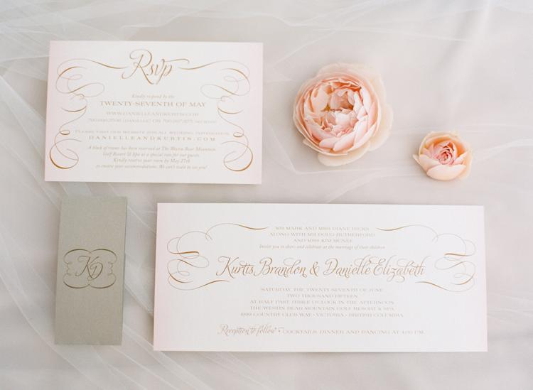 Rose gold wedding stationery suite