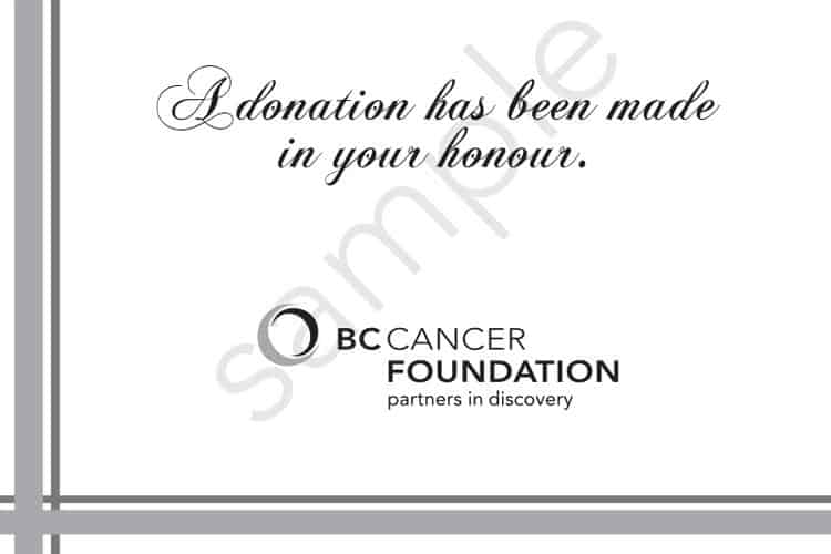 charity wedding favour, BC Cancer Foundation