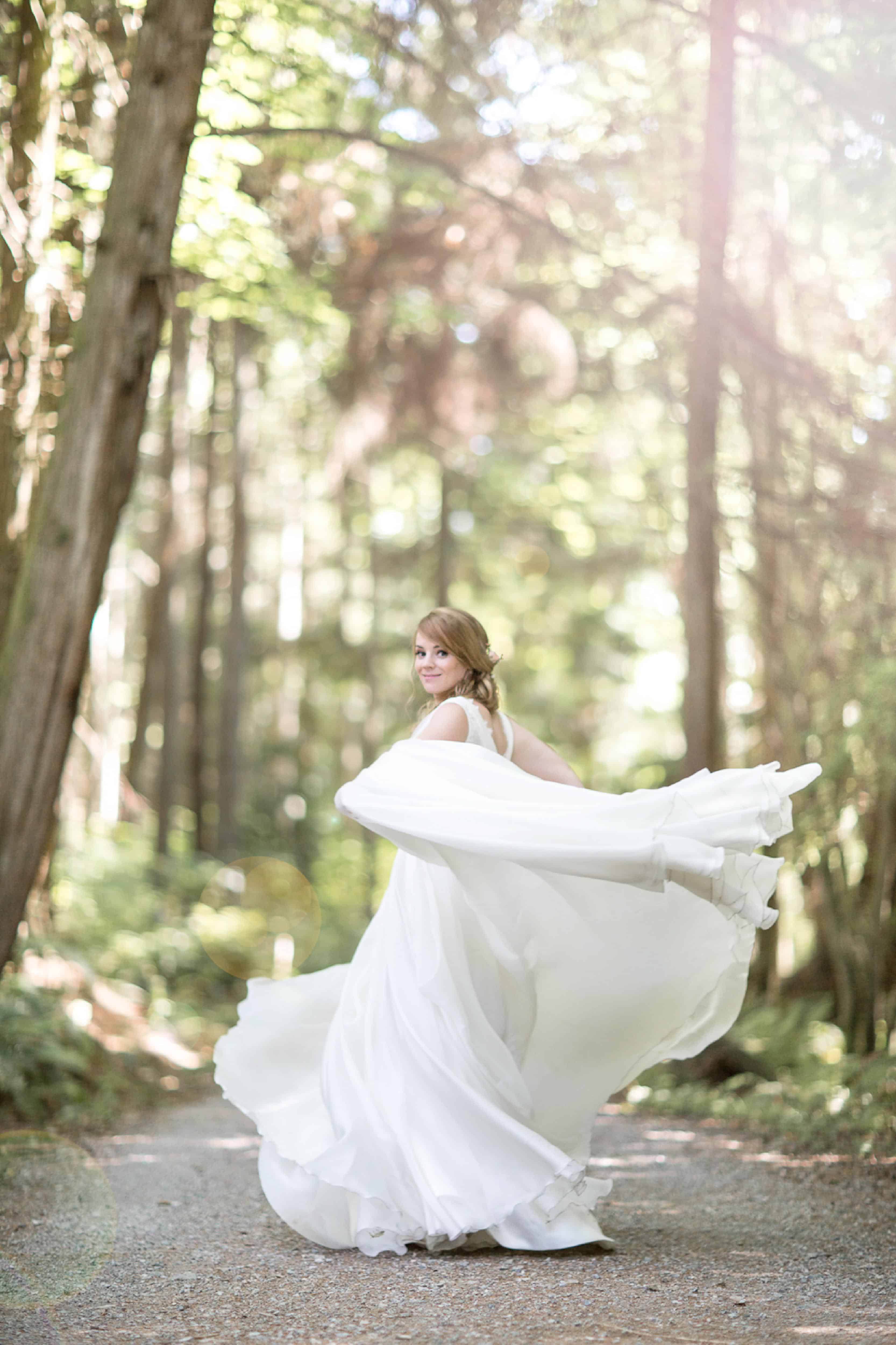 Flowing white wedding gown, Pacific Spirit Regional Park