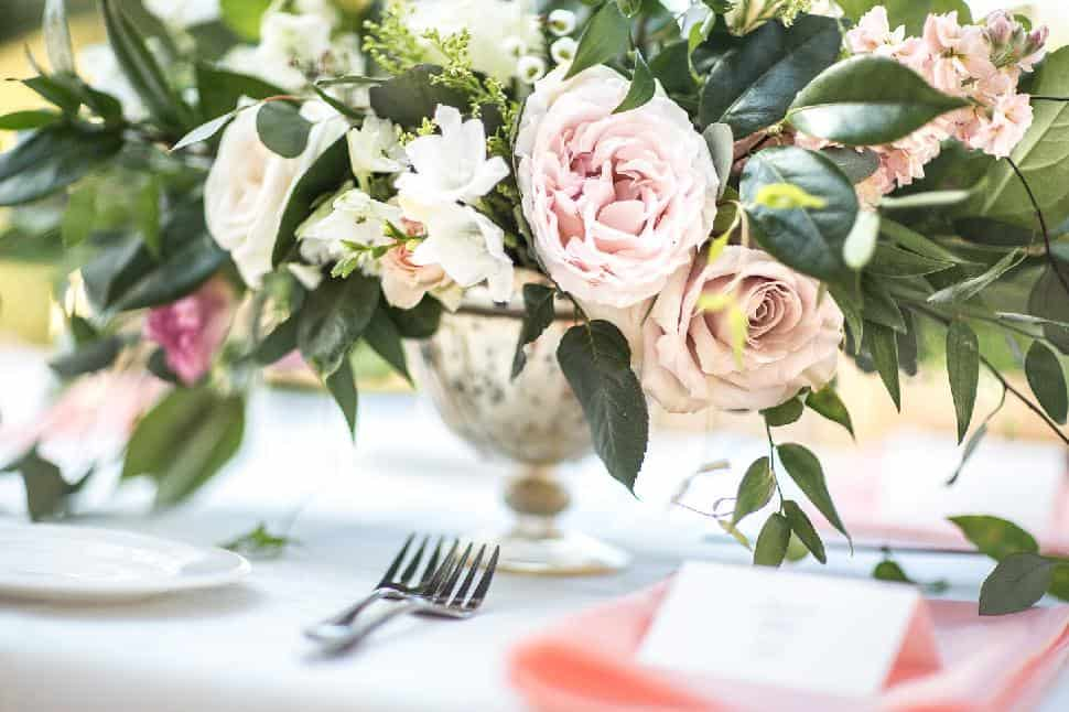Pink and green wedding florals