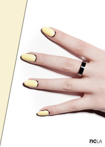 Yellow and black French manicure