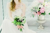 New Westminster wedding venues, Anvil Centre, green and pink flowers, Bunches & Blooms
