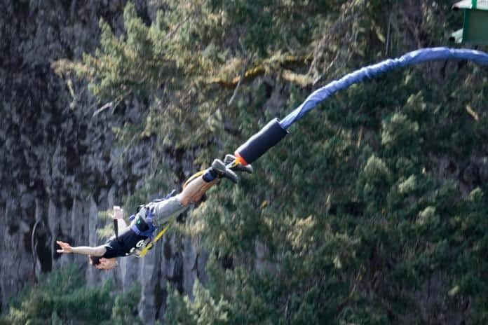 Man bungee jumping near Whistler