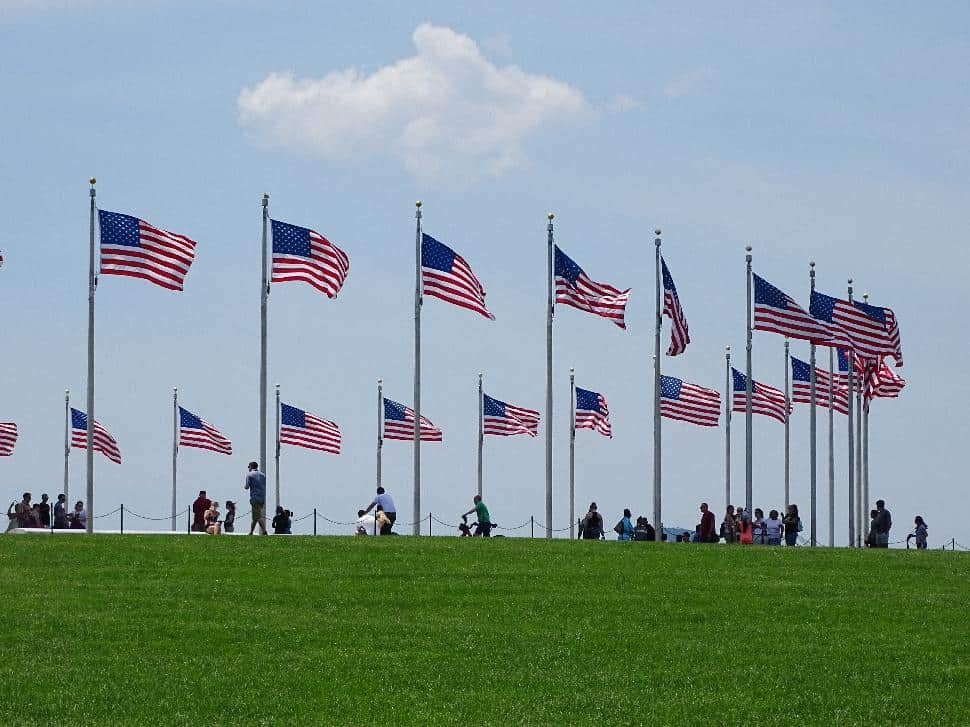 US flags, washington memorial