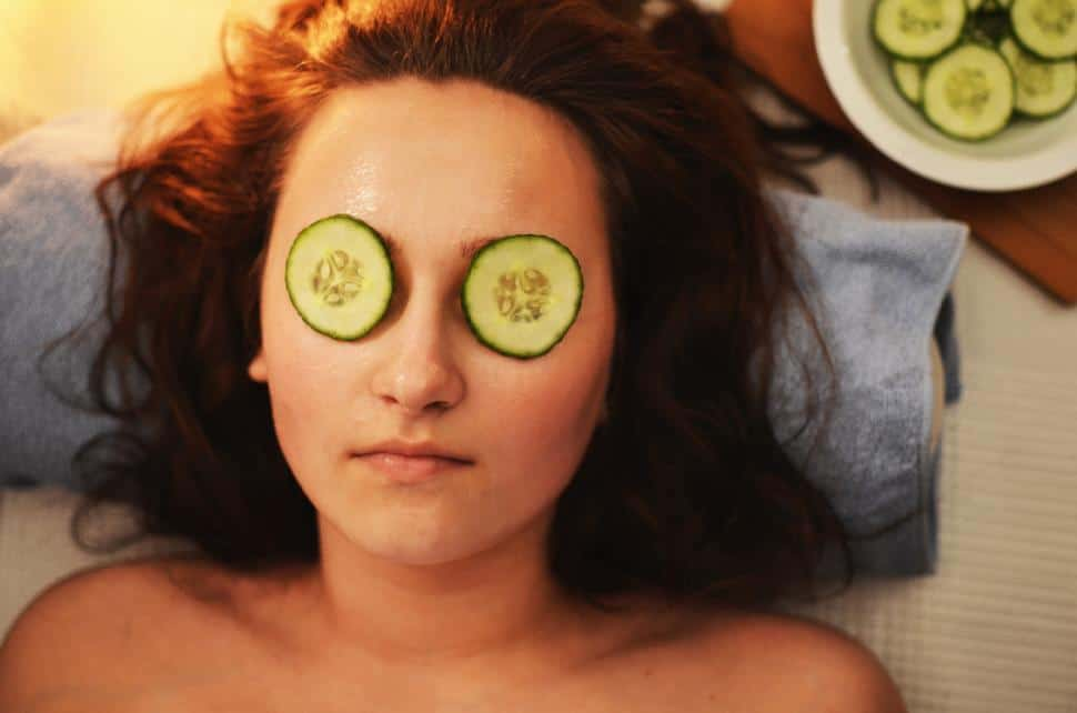 spa cucumber facial girl woman