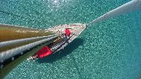 sail boat aerial view tropical
