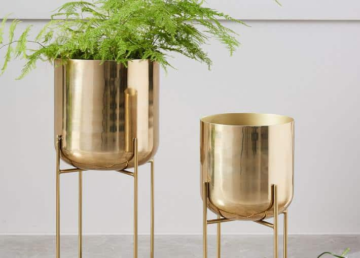gold standing planters