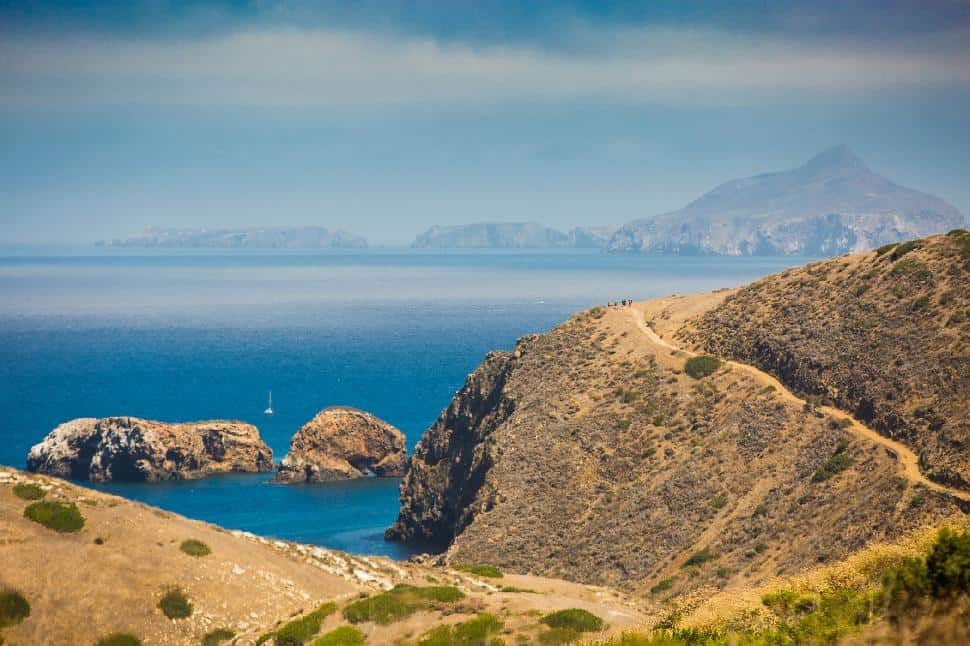View of Anacapa Island behind Santa Cruz Island