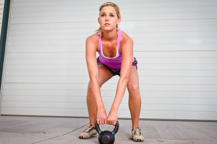 Woman with kettleball