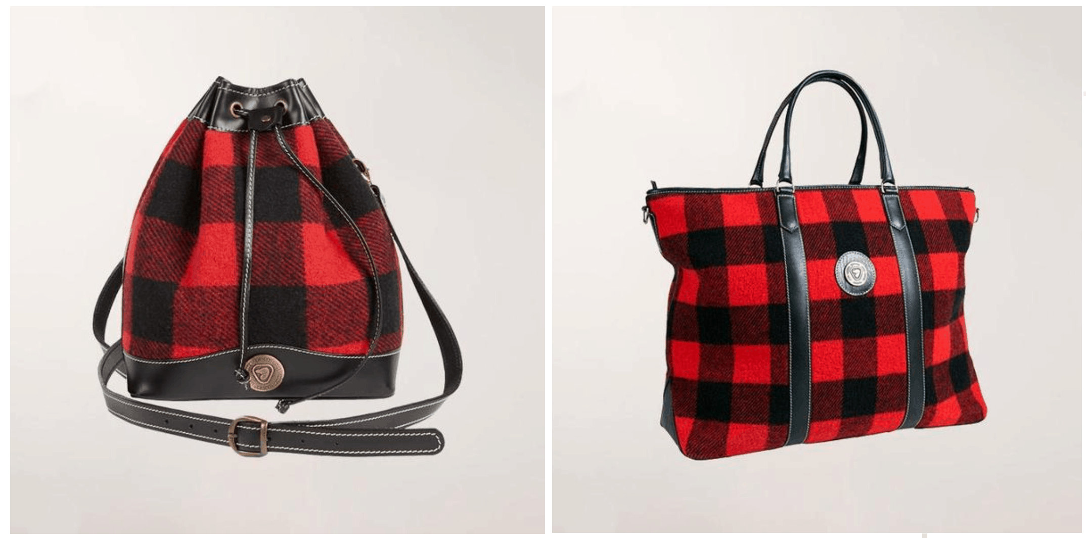 Parks Canada red and black buffalo check bags